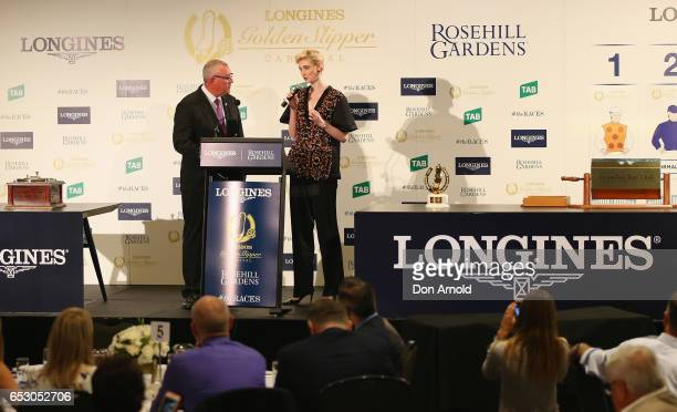 Elizabeth Debicki is interviewed during the 2017 Longines Golden Slipper Barrier Draw Media Call at Rosehill Gardens on March 14 2017 in Sydney...