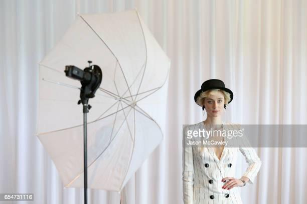 Elizabeth Debicki poses during Golden Slipper Day at Rosehill Gardens on March 18 2017 in Sydney Australia