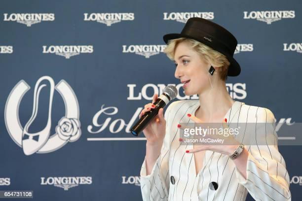 Elizabeth Debicki speaks during Golden Slipper Day at Rosehill Gardens on March 18 2017 in Sydney Australia
