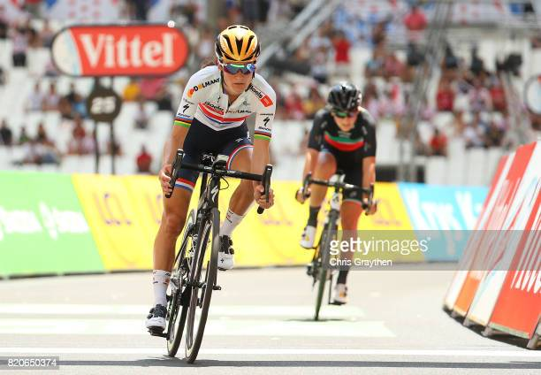 Elizabeth Deignan of Great Britain and Boels Dolmans CyclingTeam in action during stage two of La Course 2017 on July 22 2017 in Marseille France