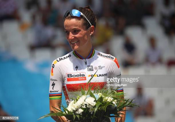 Elizabeth Deignan of Great Britain and Boels Dolmans CyclingTeam on the podium following stage two of La Course 2017 on July 22 2017 in Marseille...