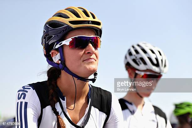 Elizabeth Deignan of Great Britain prepares for the start of the Elite Womens Road Race on Day Seven of the UCI Road World Championships at The Pearl...