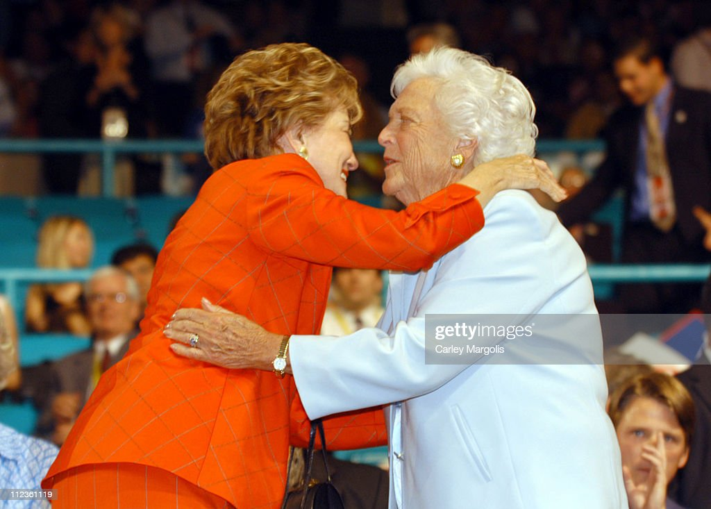 Elizabeth Dole and Barbara Bush during 2004 Republican National Convention - Day 3 - Inside at Madison Square Garden in New York City, New York, United States.