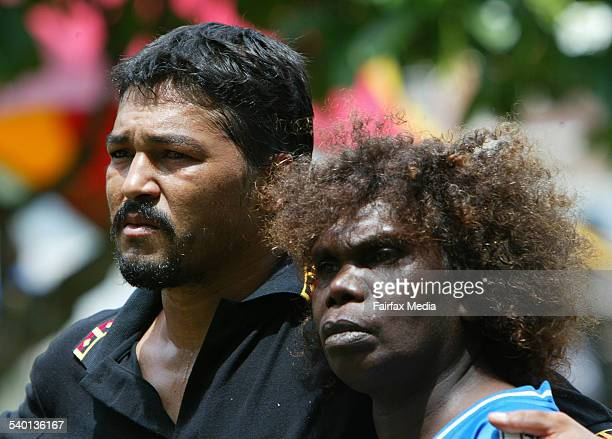 Elizabeth Doomadgee with Aboriginal activist Murandoo Yanner outside Townsville police station after he was imprisoned for his involvement in the...