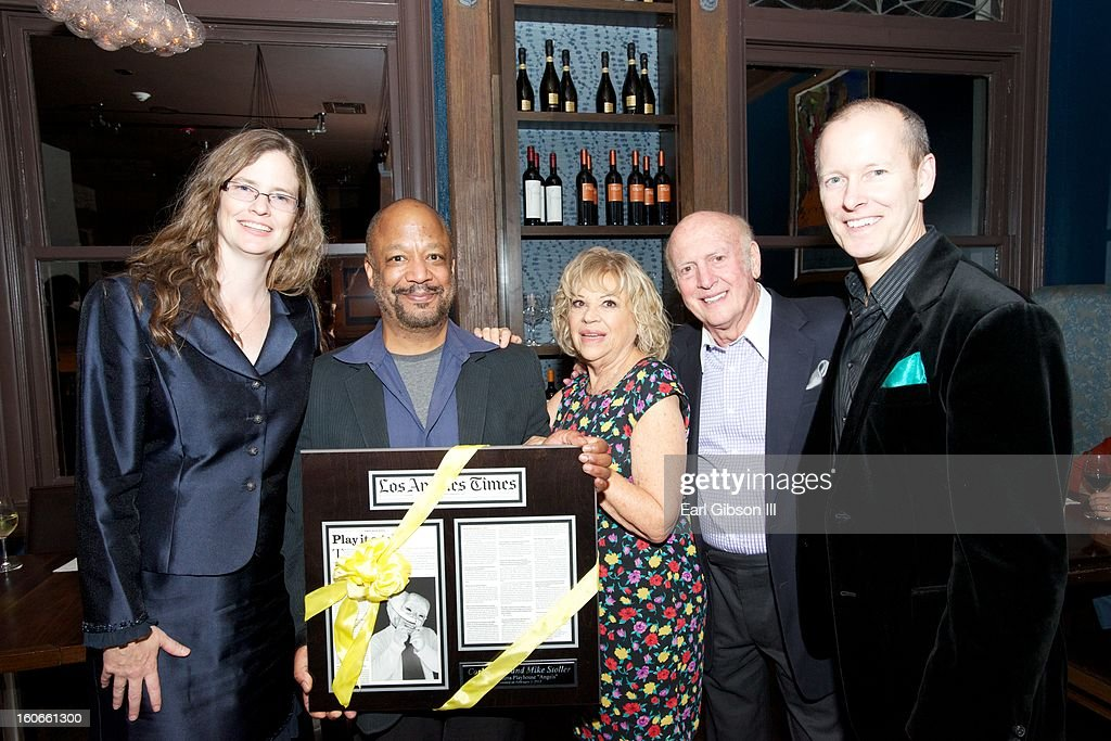Elizabeth Doran, Sheldon Epps, Corky Hale Stoller, Mike Stoller, Art Manke pose for a photo in appreciation of the Million Dollar donation from Corky and Mike Stoller on Opening Night of Noel Coward's Fallen Angels at Pasadena Playhouse on February 3, 2013 in Pasadena, California.
