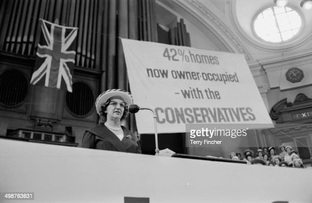 Elizabeth DouglasHome wife of British Prime Minister Sir Alec DouglasHome speaking at the Conservative Party Women's Conference London June 10th 1964