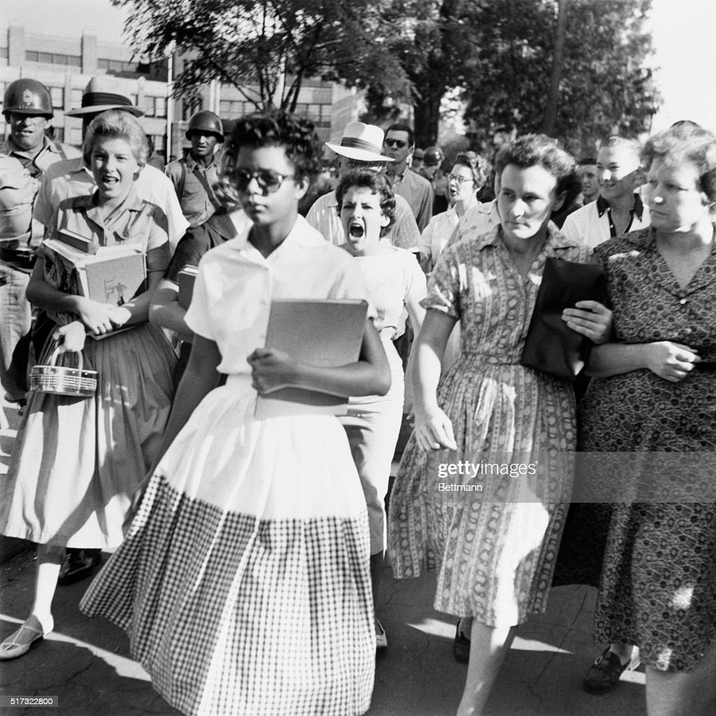 Elizabeth Eckford was one of nine African American Little Rock students who became the first to attend classes at the school. This photo of her being screamed at by students opposed to integration a powerful reminder of her extraodinary courage amidst the fray