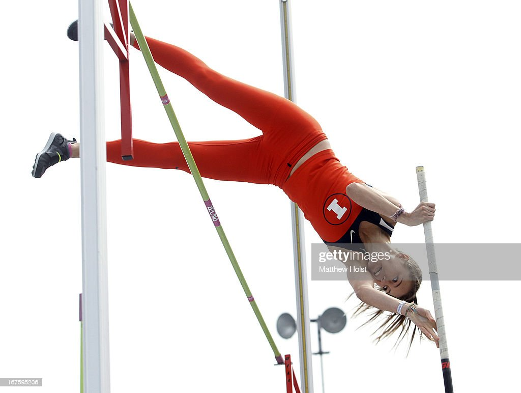 Elizabeth Eitzen of the Illinois Illini competes in the Women's pole vault at the Drake Relays, on April 26, 2013 at Drake Stadium, in Des Moines, Iowa.