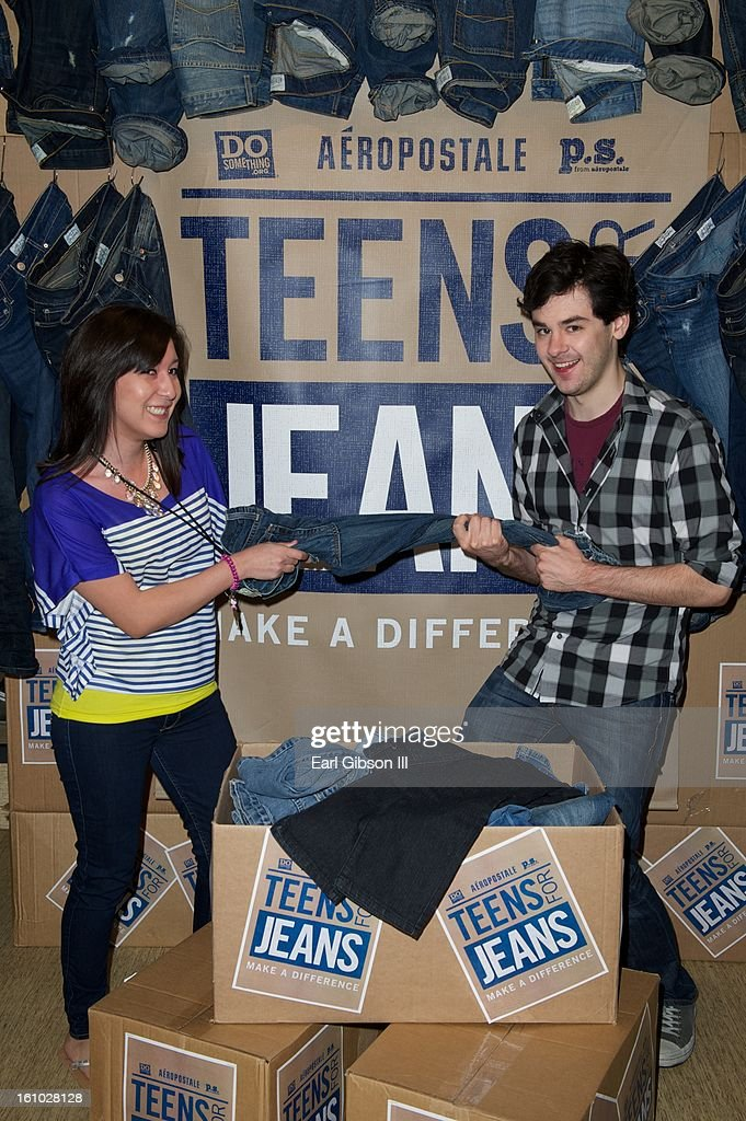Elizabeth Equizabal (Employee of Aeropostale) and Brendan Robinson lend their support to the DoSomething.org and Aeropostale's '6th Annual Teens For Jeans' Campaign at Westside Pavilion on February 8, 2013 in Los Angeles, California.