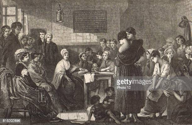 Elizabeth Fry English Quaker social reformer reading to female prisoners at Newgate Man on left with hand on back of chair is Thomas Fowell Buxton