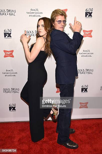 Elizabeth Gillies and Denis Leary attend the 'SexDrugsRockRoll' Season 2 Premiere at AMC Loews 34th Street 14 theater on June 28 2016 in New York City