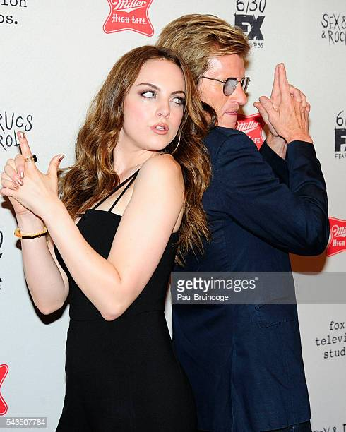 Elizabeth Gillies and Dennis Leary attend the Red Carpet Premiere of FX's SexDrugsRockRoll Season 2 at AMC Loews 34th Street 14 theater on June 28...