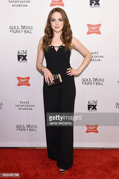Elizabeth Gillies attends the 'SexDrugsRockRoll' Season 2 Premiere at AMC Loews 34th Street 14 theater on June 28 2016 in New York City