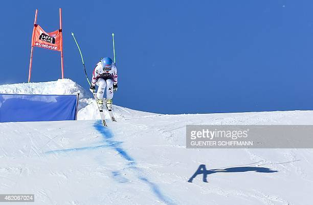 Elizabeth Goergl of Austria competes during the FIS Alpine Ski World Cup women's downhill race in St Moritz on January 24 2015 AFP PHOTO / GUENTER...