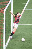 Elizabeth Grey of the Wanderers celebrates scoring a goal during the round three WLeague match between the Western Sydney Wanderers and Sydney FC at...