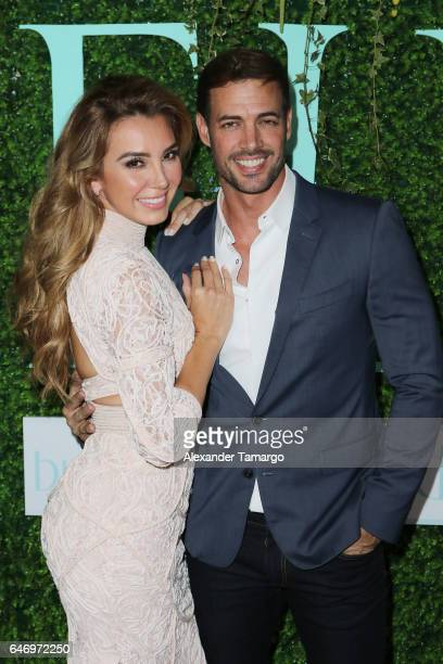 Elizabeth Gutierrez and William Levy are seen at the Elizabeth Gutierrez 'ELY' Skin Care Line launch event at the SLS Brickell on March 1 2017 in...