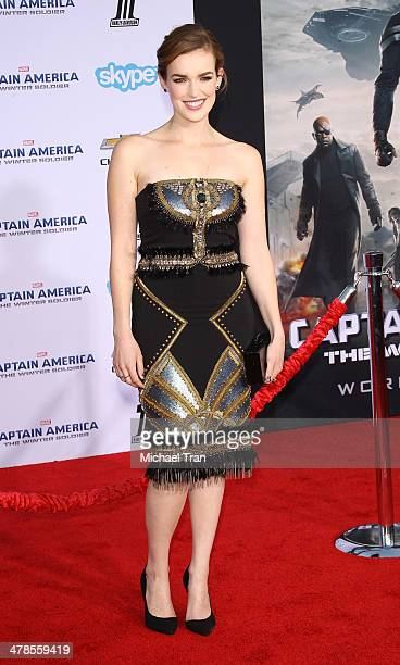 Elizabeth Henstridge arrives at the Los Angeles premiere of 'Captain America The Winter Soldier' held at the El Capitan Theatre on March 13 2014 in...