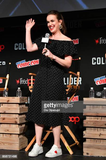 Elizabeth Henstridge speaks at the Marvel's Agents of SHIELD panel during 2017 New York Comic Con Day 3 on October 7 2017 in New York City