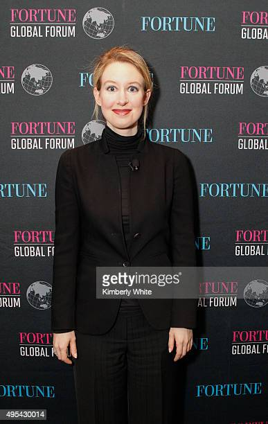Elizabeth Holmes at the Fortune Global Forum at the Fairmont Hotel on November 2 2015 in San Francisco California