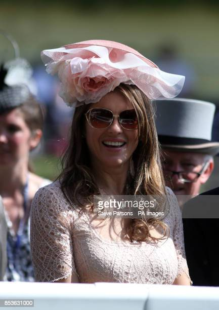 Elizabeth Hurley after Telescope ridden by Ryan Moore wins the Hardwicke Stakes during Day Five of the 2014 Royal Ascot Meeting at Ascot Racecourse...