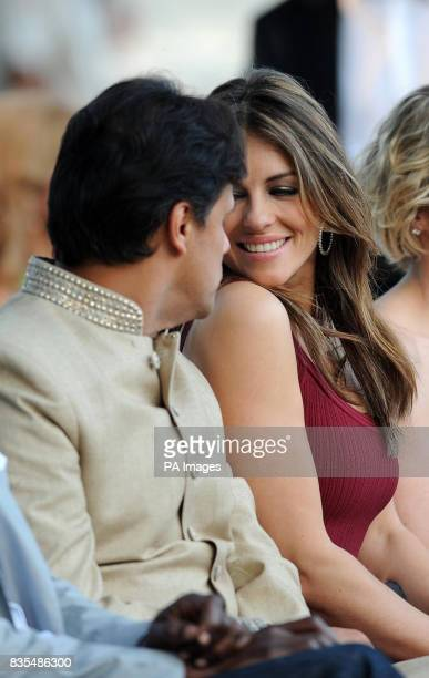 Elizabeth Hurley and Arun Nayar during the Fashion Show at The Amber Lounge Le Meridien Beach Plaza Hotel Monaco