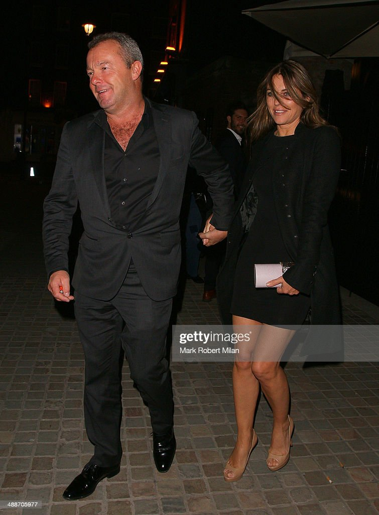 Elizabeth Hurley and David Yarrow leaving the Chiltern Firehouse on May 7, 2014 in London, England.