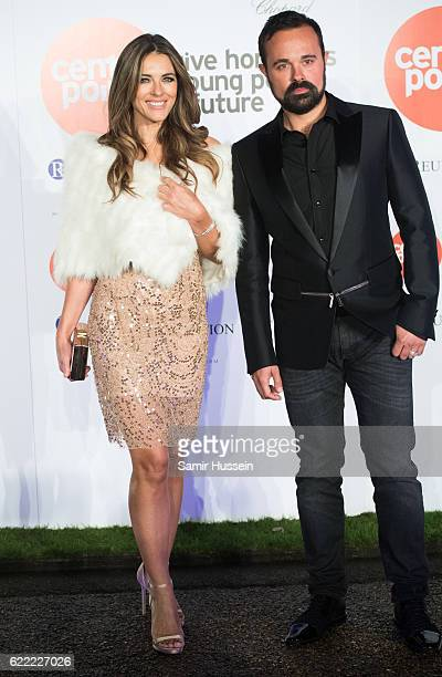 Elizabeth Hurley and Evgeny Lebedev attend Centrepoint At The Palace at Kensington Palace on November 10 2016 in London England