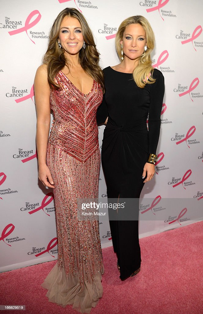 Elizabeth Hurley and Kate Hudson attend the Breast Cancer Foundation's Hot Pink Party at the Waldorf Astoria Hotel on April 17, 2013 in New York City.