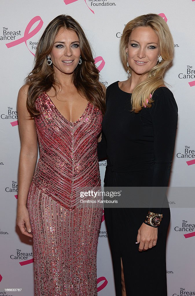 Elizabeth Hurley and Kate Hudson attend The Breast Cancer Research Foundation's 2013 Hot Pink Party at The Waldorf=Astoria on April 17, 2013 in New York City.