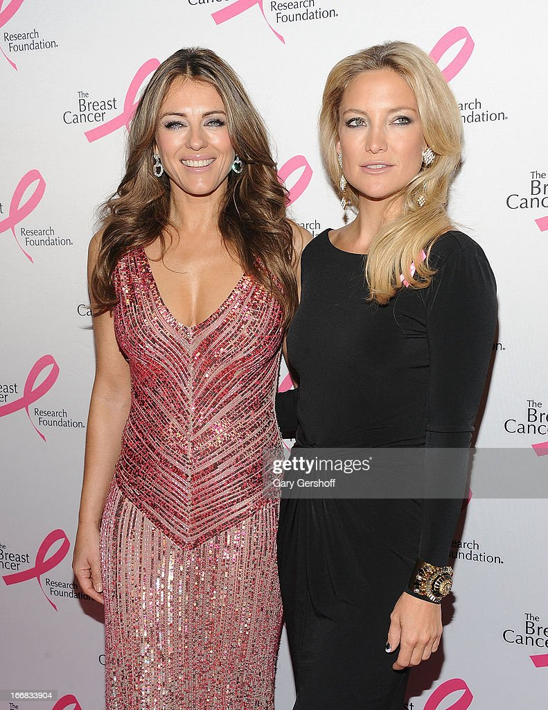 Elizabeth Hurley (L) and Kate Hudson attend The Breast Cancer Research Foundation's 2013 Hot Pink Party at The Waldorf=Astoria on April 17, 2013 in New York City.