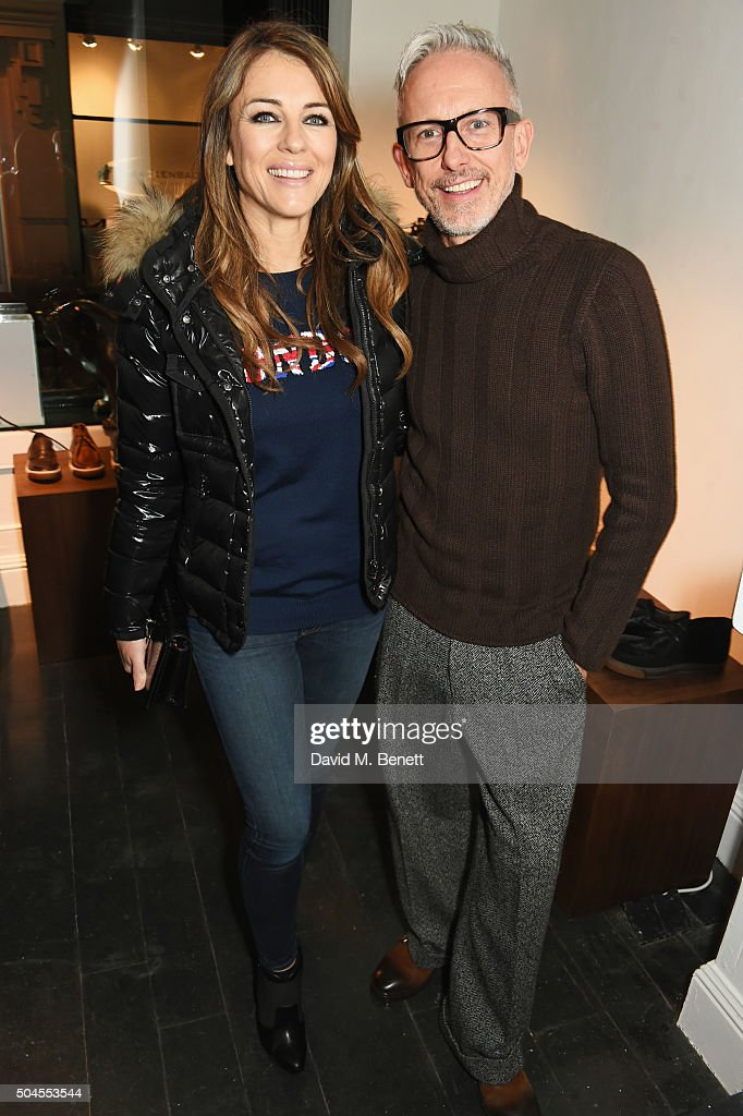 Elizabeth Hurley and Patrick Cox attend the LATHBRIDGE By Patrick Cox presentation during The London Collections Men AW16 on January 11 2016 in...