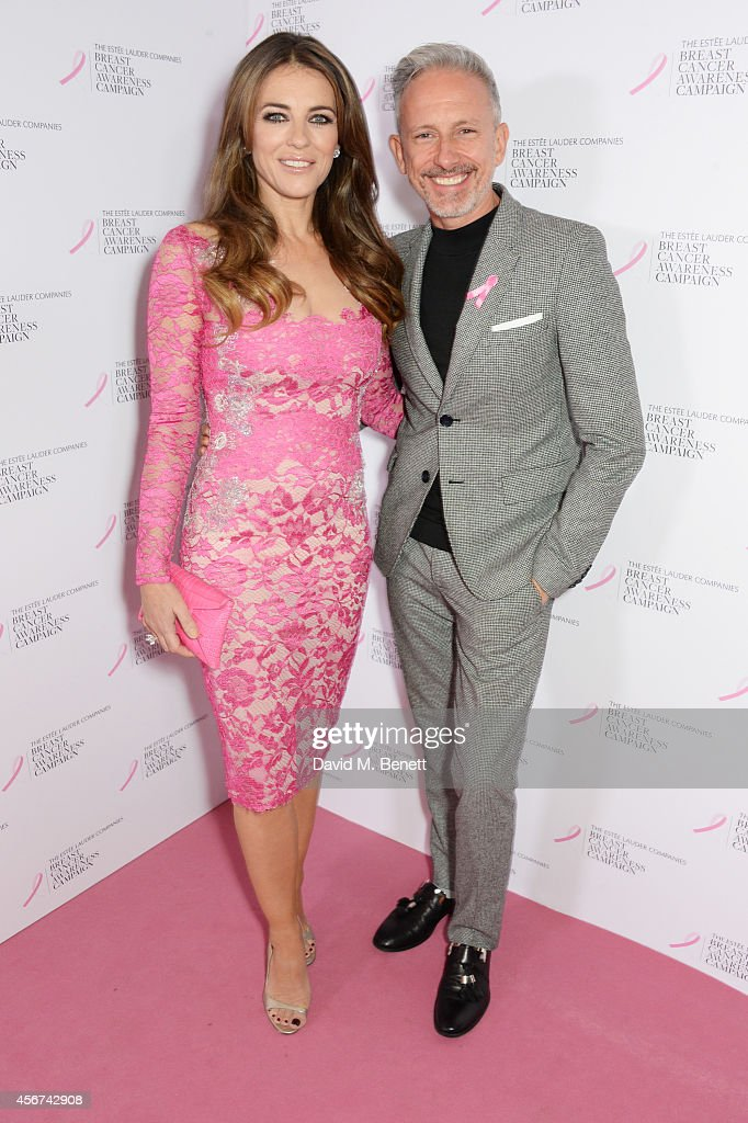 Elizabeth Hurley and Patrick Cox attend the launch of The Estee Lauder Companies' UK Breast Cancer Awareness Campaign 2014 'Hear Our Stories Share...