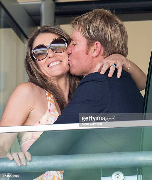 Elizabeth Hurley and Shane Warne attend the Betfair weekend featuring The King George VI and Queen Elizabeth Stakes at Ascot Racecourse on July 27...