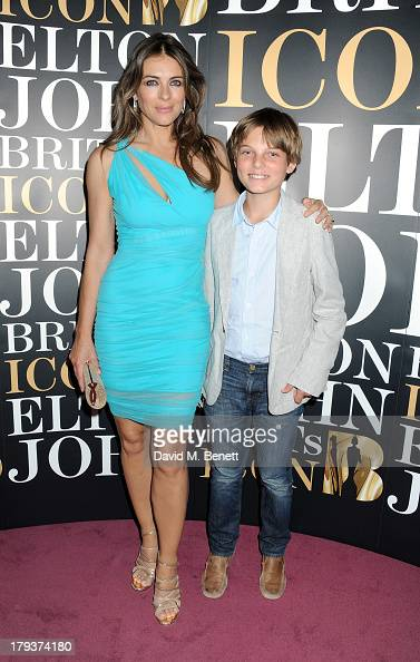 Elizabeth Hurley and son Damian attend as Sir Elton John is awarded the first annual 'BRITS Icon' award at the London Palladium on September 2 2013...