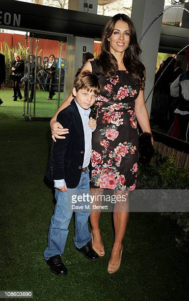 Elizabeth Hurley and son Damian Charles Hurley attend the UK film premiere of Gnomeo and Juliet at Odeon Leicester Square on January 30 2011 in...