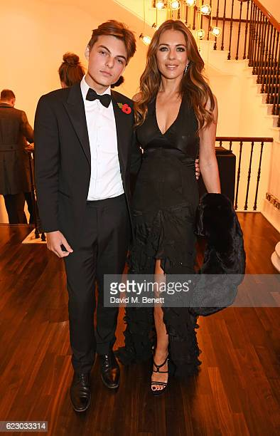 Elizabeth Hurley and son Damian Hurley attend a cocktail reception at The 62nd London Evening Standard Theatre Awards recognising excellence from...