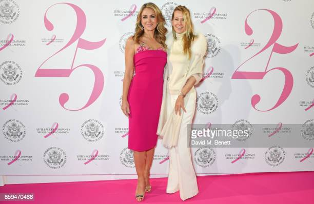 Elizabeth Hurley and Suzanne Johnson attend the 25th Anniversary of the Estee Lauder Companies UK's Breast Cancer Campaign at the US Ambassadors...