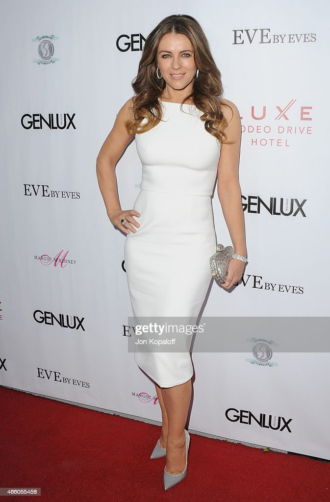 <a gi-track='captionPersonalityLinkClicked' href=/galleries/search?phrase=Elizabeth+Hurley&family=editorial&specificpeople=201731 ng-click='$event.stopPropagation()'>Elizabeth Hurley</a> arrives at Cover Girl <a gi-track='captionPersonalityLinkClicked' href=/galleries/search?phrase=Elizabeth+Hurley&family=editorial&specificpeople=201731 ng-click='$event.stopPropagation()'>Elizabeth Hurley</a> & Genlux Magazine Hosts Issue Release Party at Eve by Eves on March 12, 2015 in Beverly Hills, California.