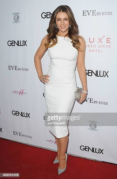 Elizabeth Hurley arrives at Cover Girl Elizabeth Hurley Genlux Magazine Hosts Issue Release Party at Eve by Eves on March 12 2015 in Beverly Hills...