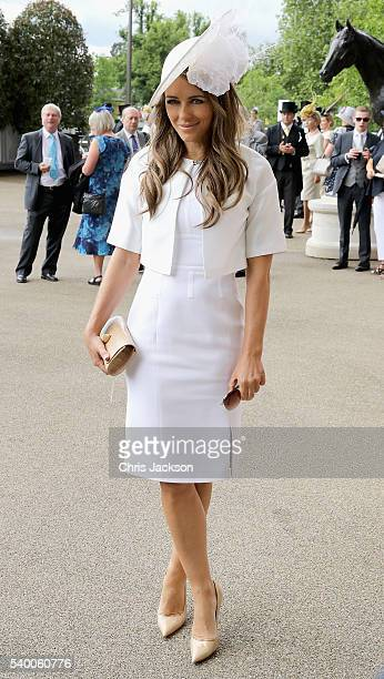 Elizabeth Hurley arrives at Royal Ascot 2016 at Ascot Racecourse on June 14 2016 in Ascot England
