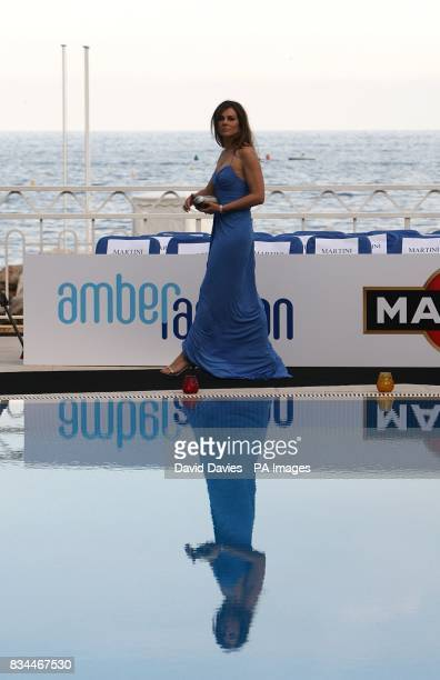Elizabeth Hurley arrives for the Grand Prix and Fashion Unite at The Amber Lounge Le Meridien Beach Plaza Hotel Monaco