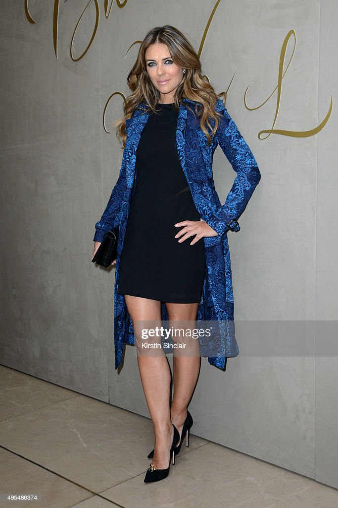 <a gi-track='captionPersonalityLinkClicked' href=/galleries/search?phrase=Elizabeth+Hurley&family=editorial&specificpeople=201731 ng-click='$event.stopPropagation()'>Elizabeth Hurley</a> arrives for the premiere of the Burberry festive film at Burberry on November 3, 2015 in London, England.
