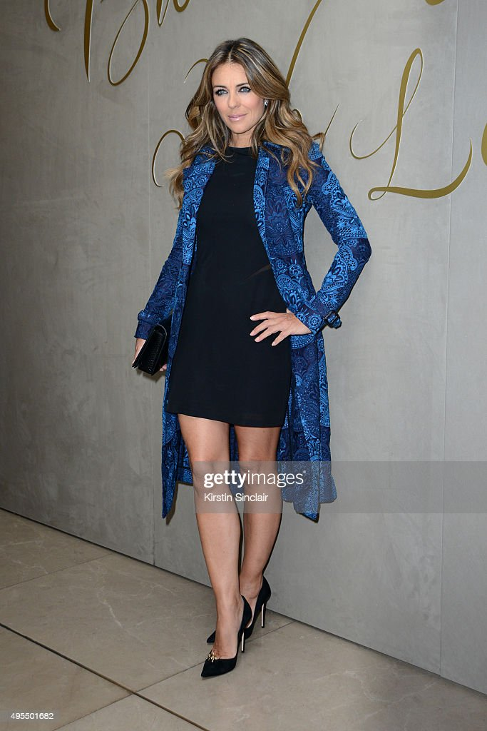 Elizabeth Hurley arrives for the premiere of the Burberry festive film at Burberry on November 3, 2015 in London, England.