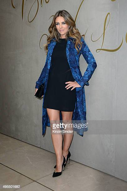Elizabeth Hurley arrives for the premiere of the Burberry festive film at Burberry on November 3 2015 in London England