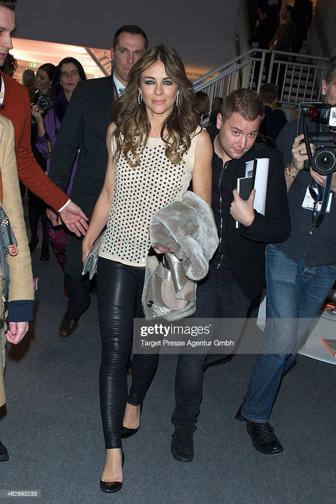 <a gi-track='captionPersonalityLinkClicked' href=/galleries/search?phrase=Elizabeth+Hurley&family=editorial&specificpeople=201731 ng-click='$event.stopPropagation()'>Elizabeth Hurley</a> arrives the Marc Cain show during Mercedes-Benz Fashion Week Autumn/Winter 2014/15 at Brandenburg Gate on January 16, 2014 in Berlin, Germany.
