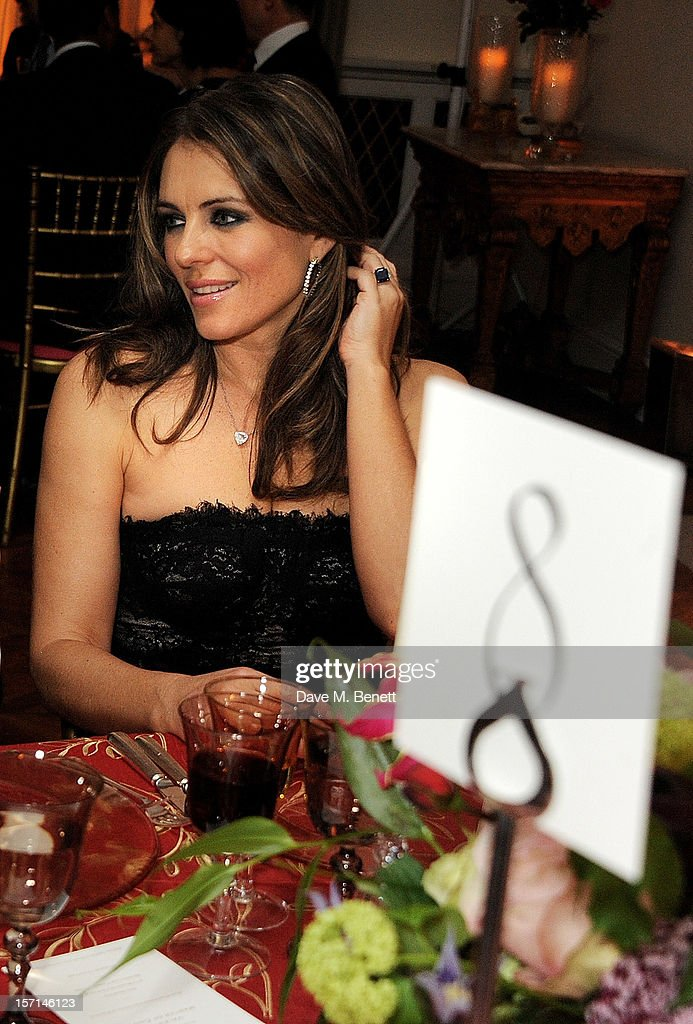 Elizabeth Hurley attends a dinner celebrating the launch of 'Valentino: Master Of Couture', the new exhibition showing at Somerset House from November 29, 2012 to March 3, 2013, at the Italian Embassy on November 28, 2012 in London, England.
