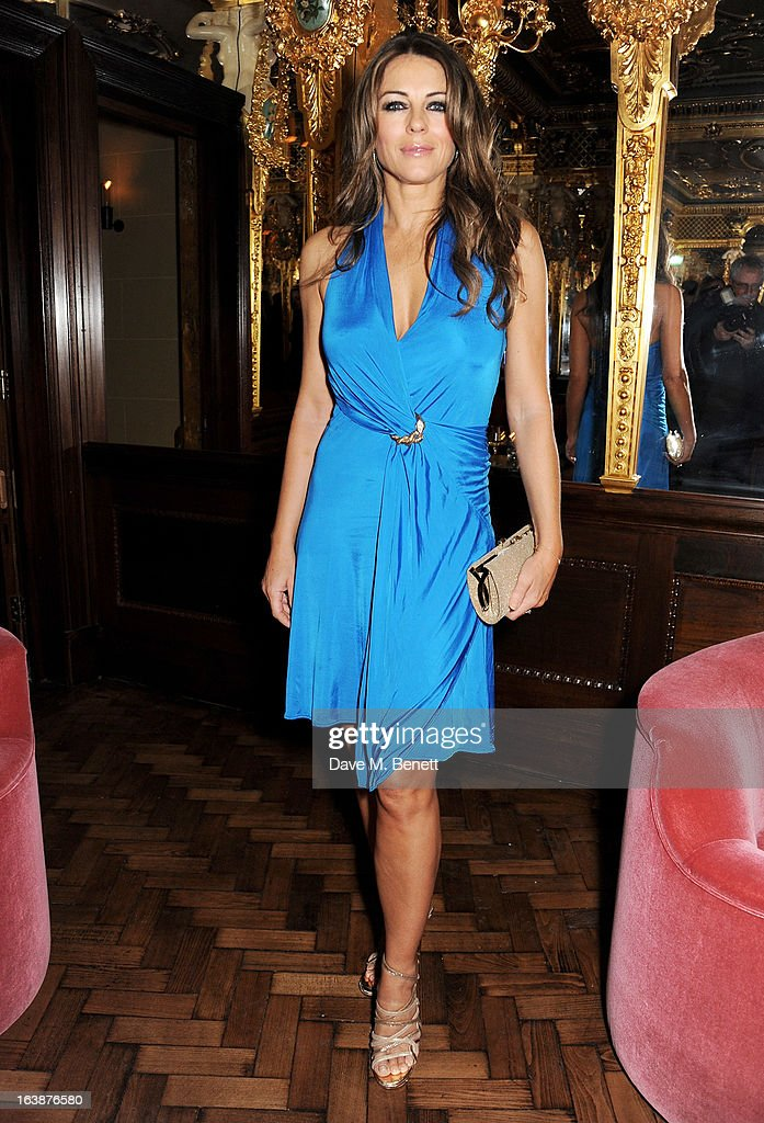 Elizabeth Hurley attends a drinks reception celebrating Patrick Cox's 50th Birthday party at Cafe Royal on March 15, 2013 in London, England.