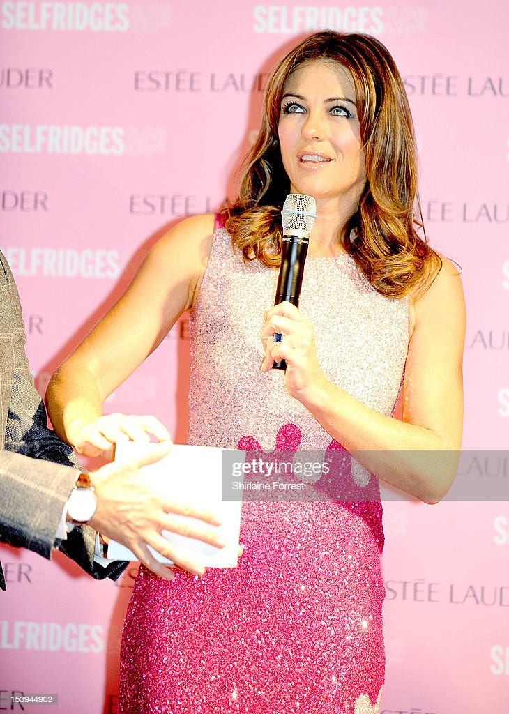 <a gi-track='captionPersonalityLinkClicked' href=/galleries/search?phrase=Elizabeth+Hurley&family=editorial&specificpeople=201731 ng-click='$event.stopPropagation()'>Elizabeth Hurley</a> attends a photocall where she turned Selfridges Pink during Breast Cancer Awareness Month at Selfridges on October 11, 2012 in Manchester, England.
