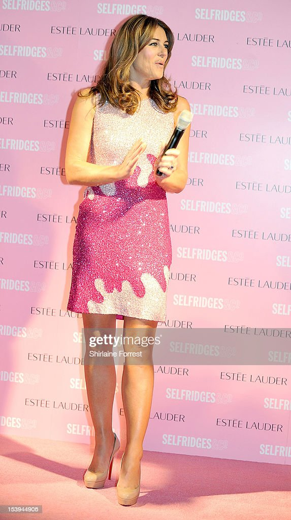 Elizabeth Hurley attends a photocall where she turned Selfridges Pink during Breast Cancer Awareness Month at Selfridges on October 11, 2012 in Manchester, England.