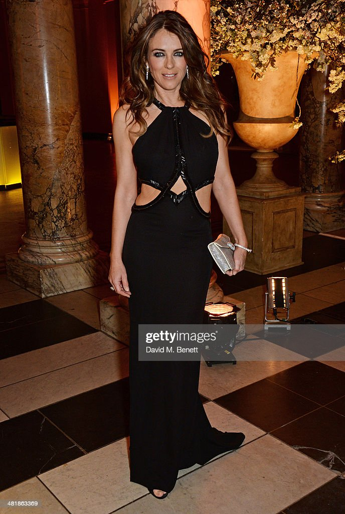 <a gi-track='captionPersonalityLinkClicked' href=/galleries/search?phrase=Elizabeth+Hurley&family=editorial&specificpeople=201731 ng-click='$event.stopPropagation()'>Elizabeth Hurley</a> attends a private dinner celebrating the Victoria and Albert Museum's new exhibition 'The Glamour Of Italian Fashion 1945 - 2014' at Victoria and Albert Museum on April 1, 2014 in London, England.